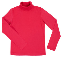 Red turtleneck. Isolated on a white