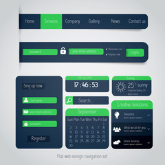 UI elements for web and mobile. Flat design. Vector