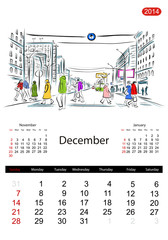 Calendar 2014, december. Streets of the city, sketch for your