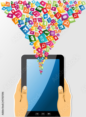 Human hands holds a tablet pc social media icons.