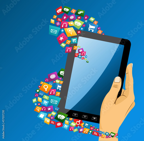 Human hand with tablet pc social media icons.