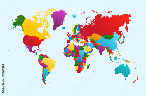 World map, colorful countries illustration EPS10 vector file. Poster