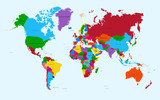 Fototapeta World map, colorful countries atlas EPS10 vector file.
