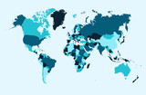 World map, blue countries illustration EPS10 vector file.