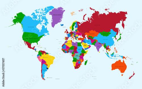 Światowa mapa, kolorowa kraju atlanta EPS10 wektorowa kartoteka.