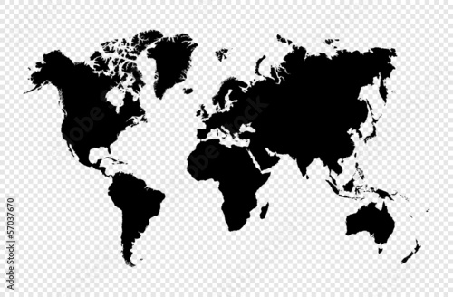 Canvas Wereldkaarten Black silhouette isolated World map EPS10 vector file.