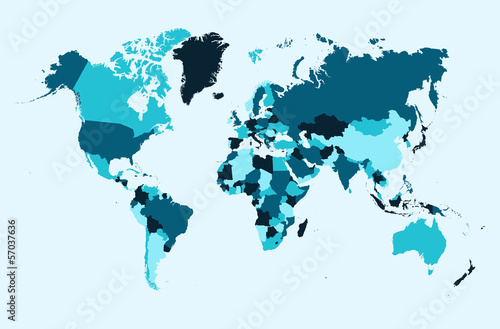 World map, blue countries illustration EPS10 vector file. Poster