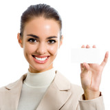 Businesswoman showing blank business card, isolated