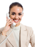 Businesswoman on phone, isolated