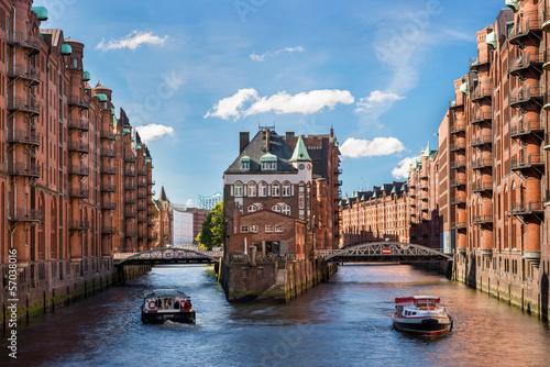 Leinwanddruck Bild Hamburg landmark Wasserschloss