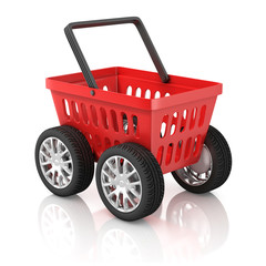 shopping basket on wheels 3d illustration