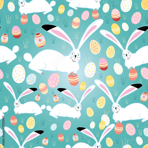 Cotton fabric texture Easter eggs and bunnies
