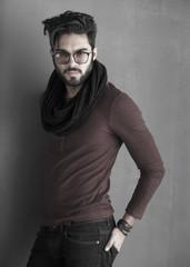 sexy fashion man model dressed casual posing dramatic