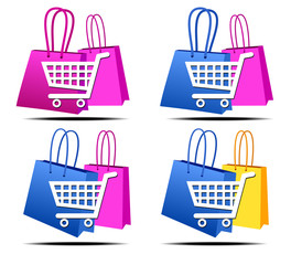 Selection of Shopping on the Internet Icons