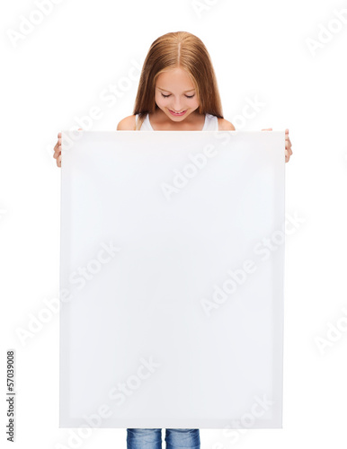 little girl with blank white board