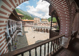 The inner courtyard of the Rila Monastery
