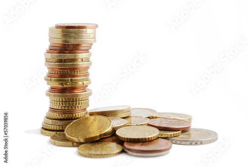 Specie's pile and tall column of coins near