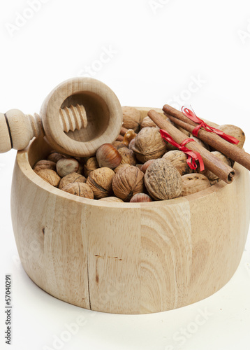 Composition of nuts on white background