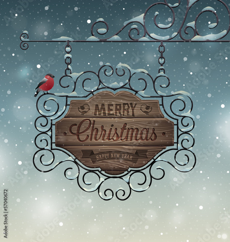 Christmas vintage greeting card - wooden signboard.