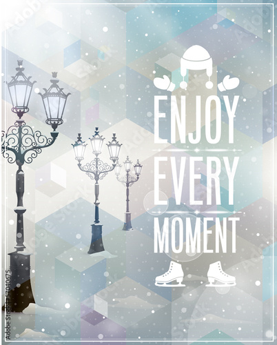 Winter poster. Vector background.