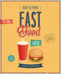 Vintage Fast Food Poster. Vector illustration.