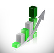 green business graph and arrow illustration