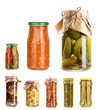 Set of canned vegetables  isolated on white