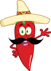 Chili Pepper With Mexican Hat And Mustache Waving For Greeting