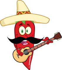 Red Chili Pepper With Mexican Hat And Mustache Playing A Guitar