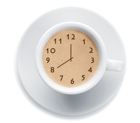 Cup of fresh coffee with clock sign