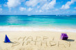 "Leinwanddruck Bild - Sign ""Happy Birthday"" on the sandy beach"