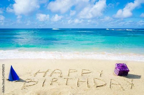 "Leinwanddruck Bild Sign ""Happy Birthday"" on the sandy beach"
