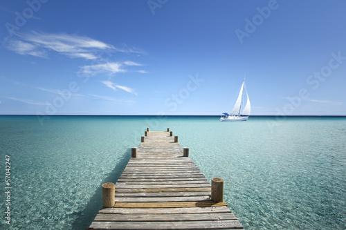 Foto op Plexiglas Jacht Passerelle en Bois sur ma Mer