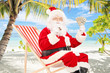 Santa claus on vacation, sitting on chair with cigar and dollars