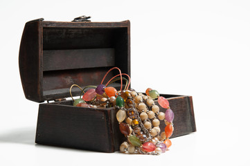 Jewellery in old wooden box