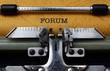 Forum text on typewriter