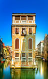 Venice cityscape, building, canal and bridges. Italy
