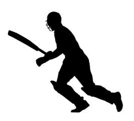Sport Silhouette - Cricket Batsman Running