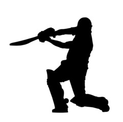 Sport Silhouette - Cricket Batsman Hitting Ground Stroke