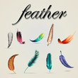 Feather Icons Set - Isolated On Gray Background