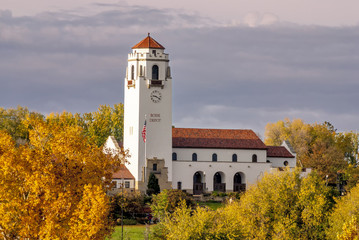Fall colors at a train Depot in Boise Idaho