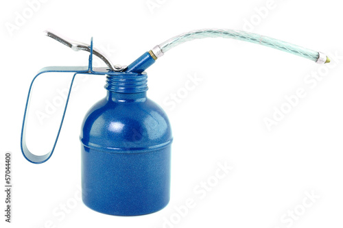 blue oil can, isolated on white
