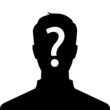 Anonymous man silhouette profile picture with question mark