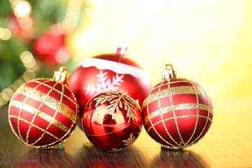 Christmas decorative balls  on bright background