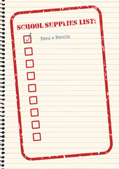 School Supplies Checklist Vector