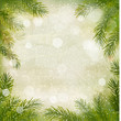 Christmas retro background with tree branches and snowflakes. Ve