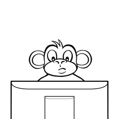 Black and white monkey sitting behind a computer screen or tv.