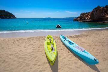 Ibiza cala Sant Vicent beach with Kayaks san Juan