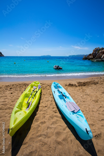 Ibiza cala Sant Vicent beach with Kayaks san Juan