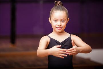 Beautiful little ballerina smiling